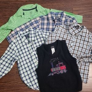 4 Long Sleeve Button Down Boy Shirts & Knit Vest